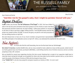 Read more...The Russells - May 2016 Prayer Letter