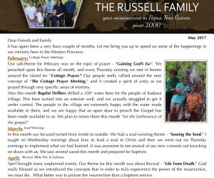 Read more...The Russells - May 2017 Prayer Letter