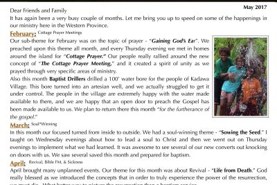 The Russells - May 2017 Prayer Letter